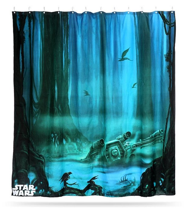 Star Wars Dagobah Shower Curtain Decor Debile Serviette De Bain
