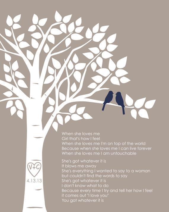 Custom First Dance Song Lyrics Or Wedding Vows Love Birds Family Tree