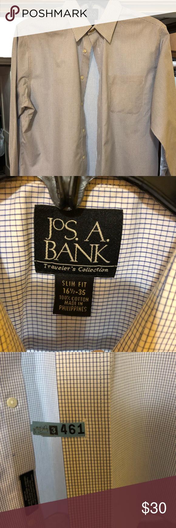 Jos A. Bank Dress Shirt Jos A. Bank light blue and white