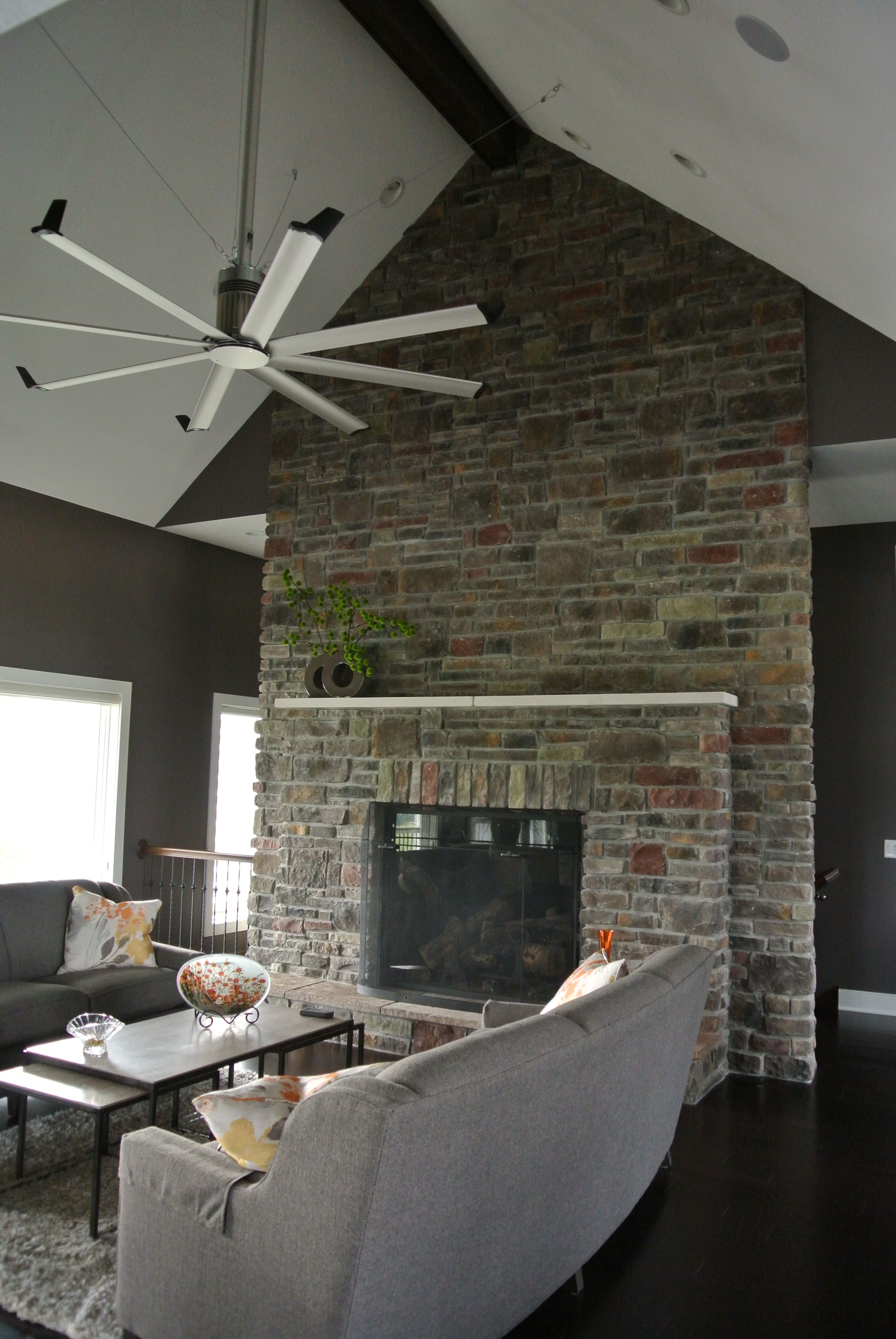 Stoned Full Wall Fireplace With Hearth Dakota Cut Cobble And