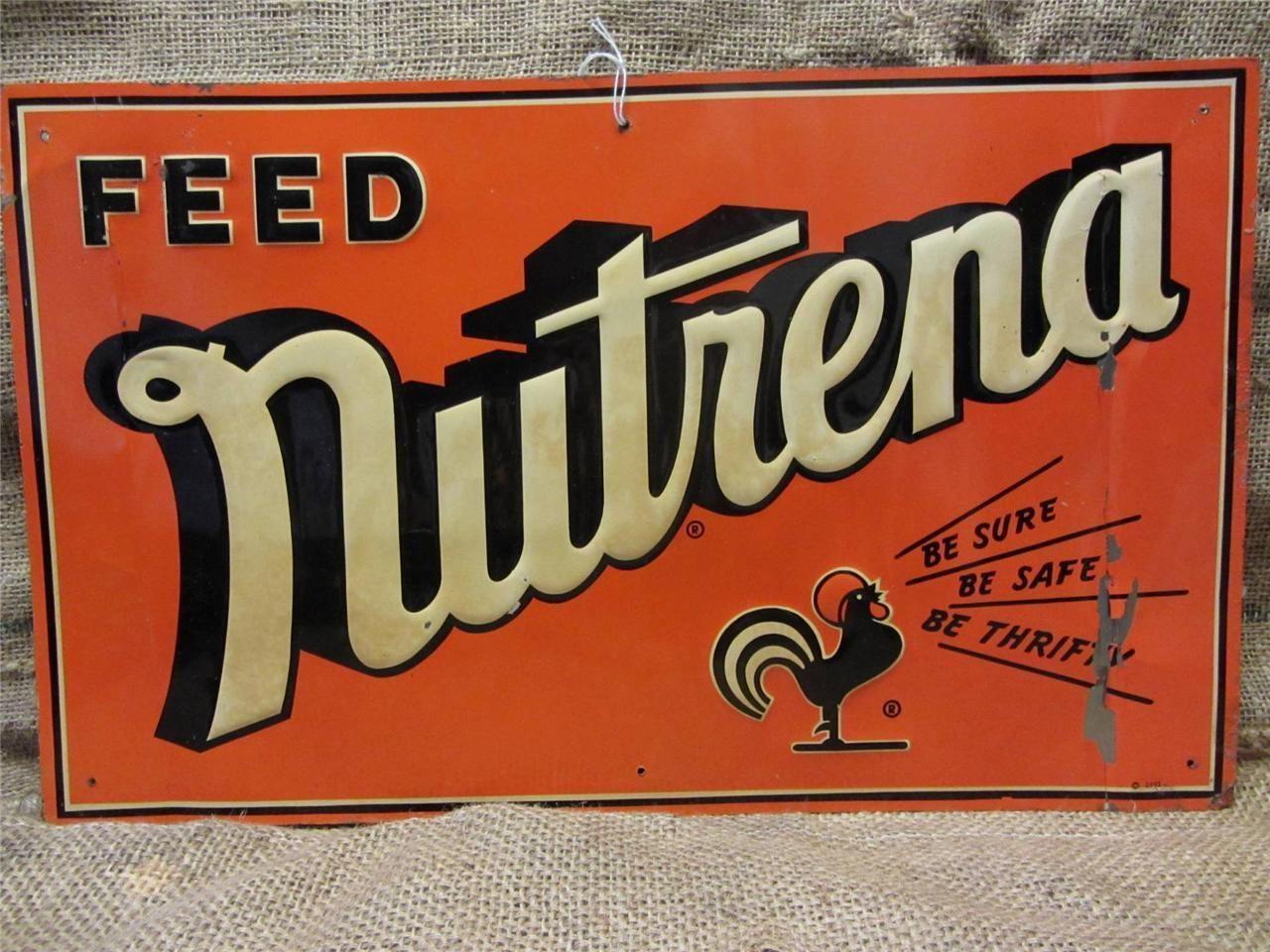 Vintage 1951 Embossed Nutrena Feed Sign Antique Old Farm Seed Nice Color 9076 Old Farm Farm Seed Vintage Neon Signs