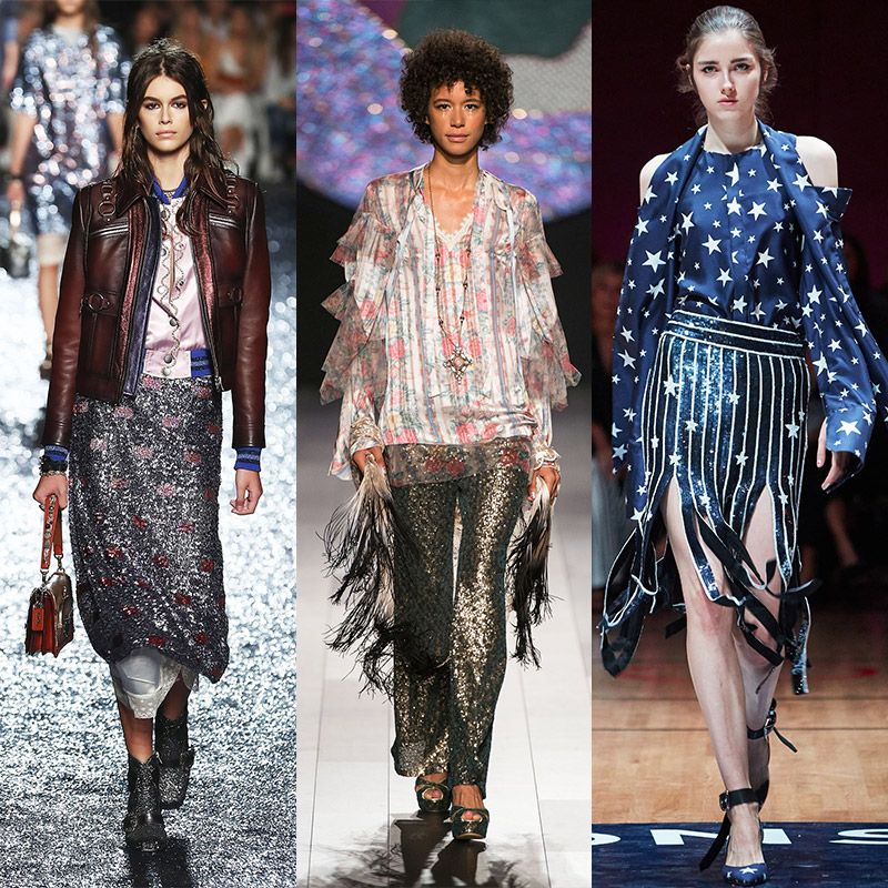 Sequins - Proving sparkles can be sported beyond a dance floor, soft sequins were found on skirts and pants and teamed with chic separates. Do we dare call these glittery confections the new neutral? We think yes.
