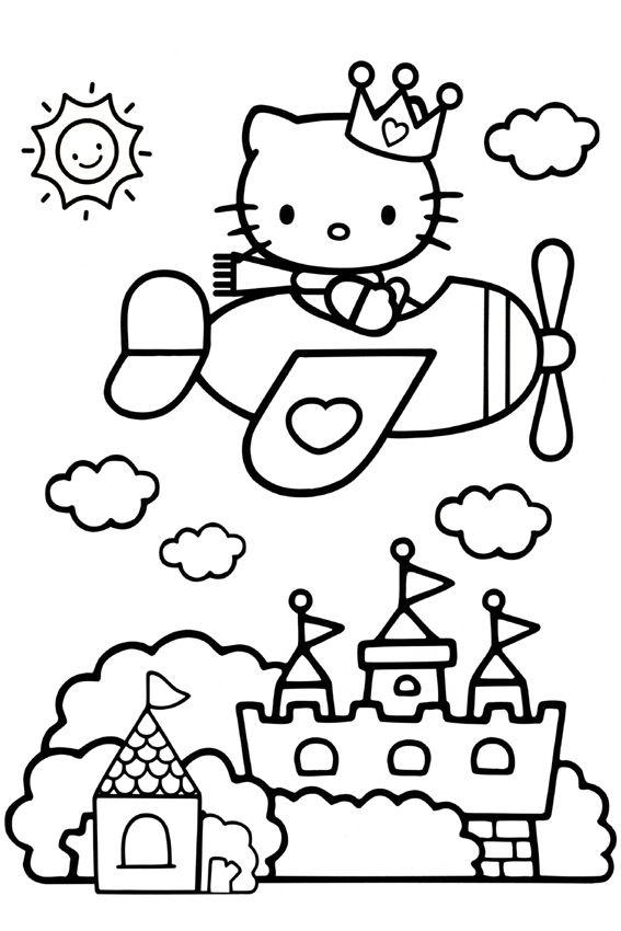 Plane And Castle Hello Kitty Coloring Hello Kitty Colouring Pages Kitty Coloring