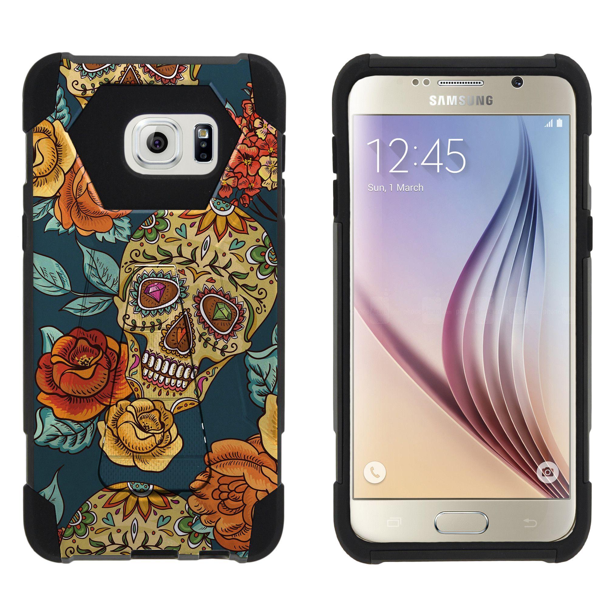 Samsung Galaxy S6 G928 SHOCK FUSION Heavy Duty Kickstand Case - Sugar Skull and Flowers