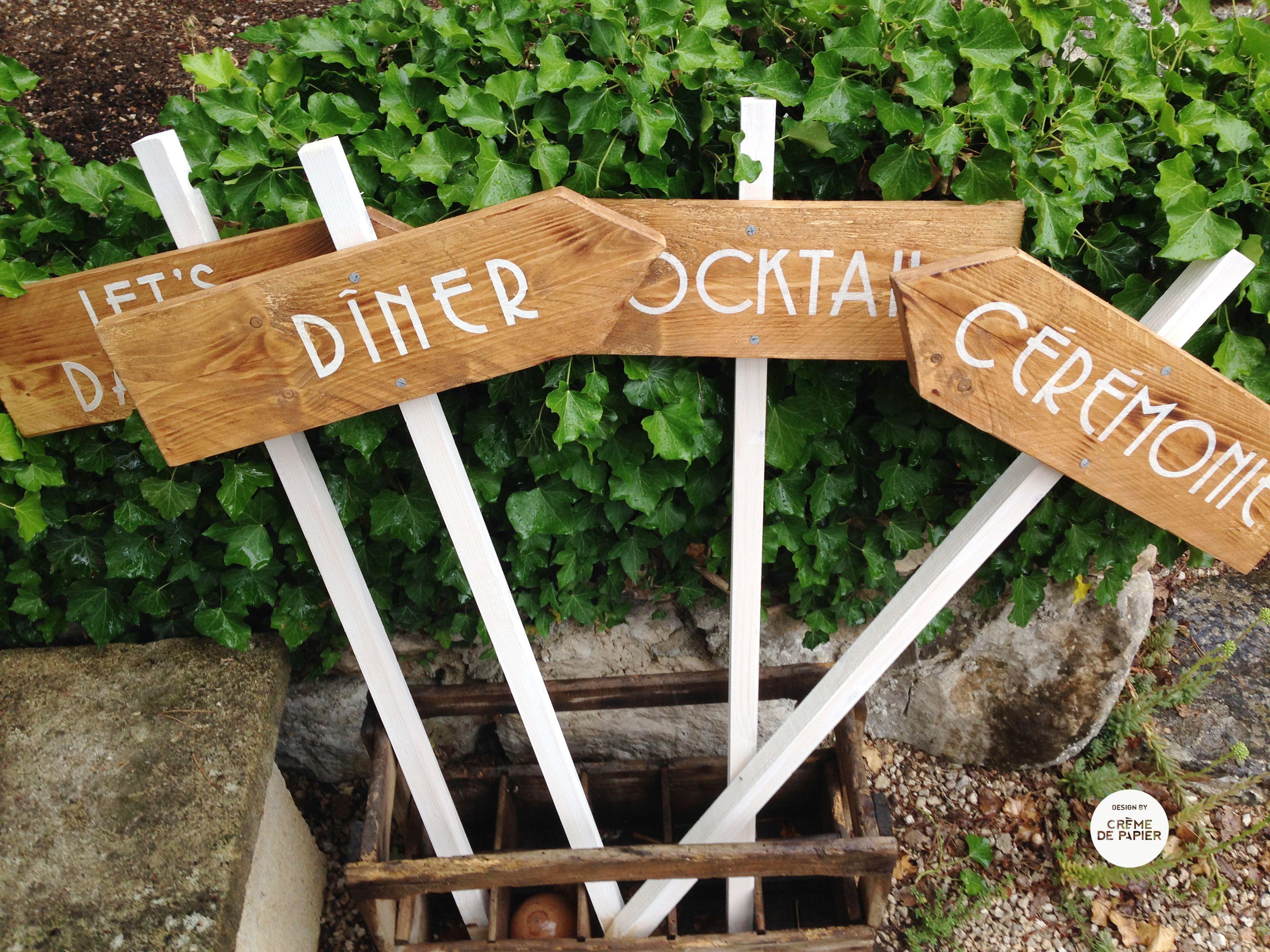 Wooden Signs Panneau bois Signalétique mariage Made by Cr u00e8me de Papier paneaux  # Panneau Directionnel Bois