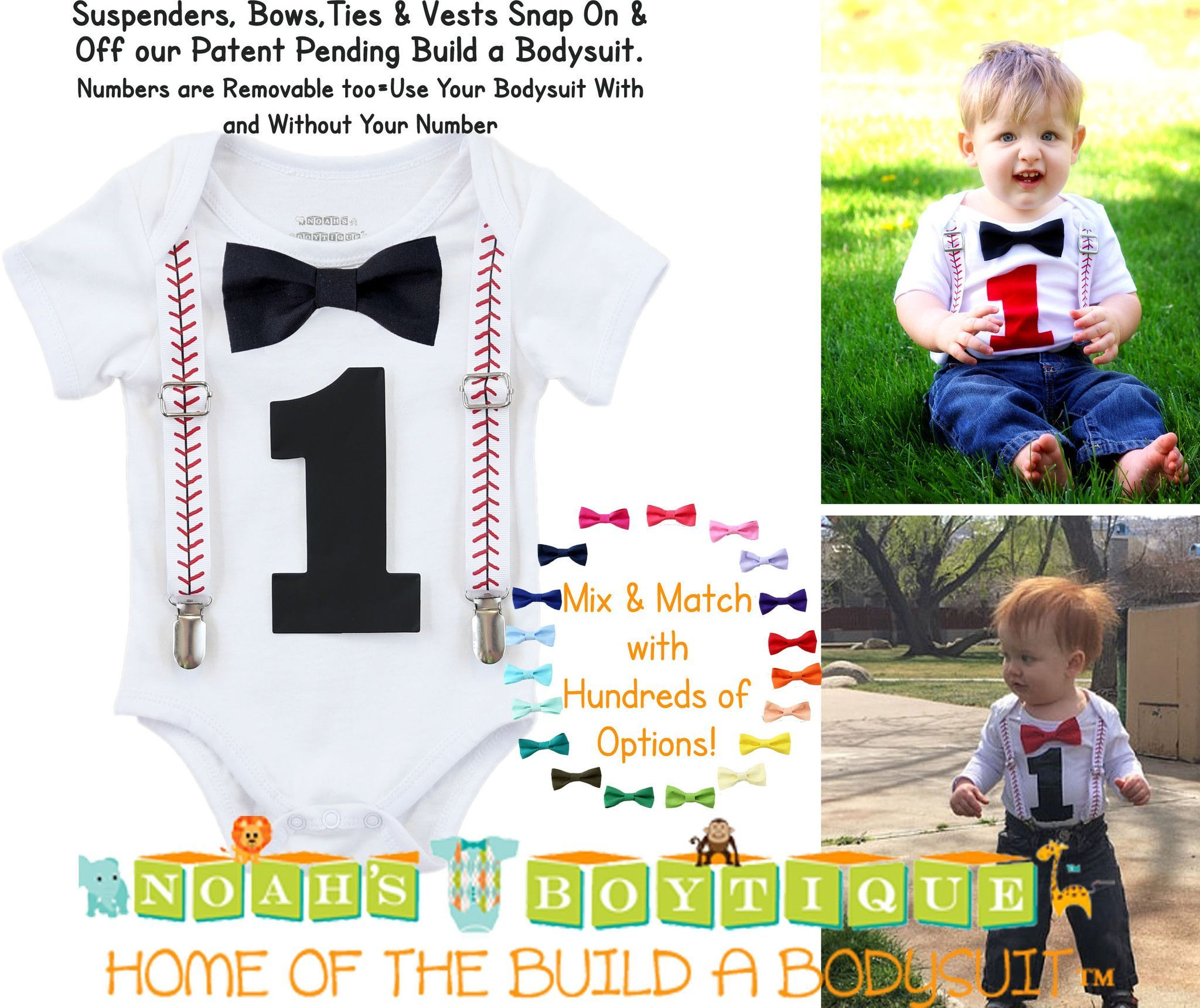 Baseball First Birthday Outfit Baby Boy Black Bow Black e