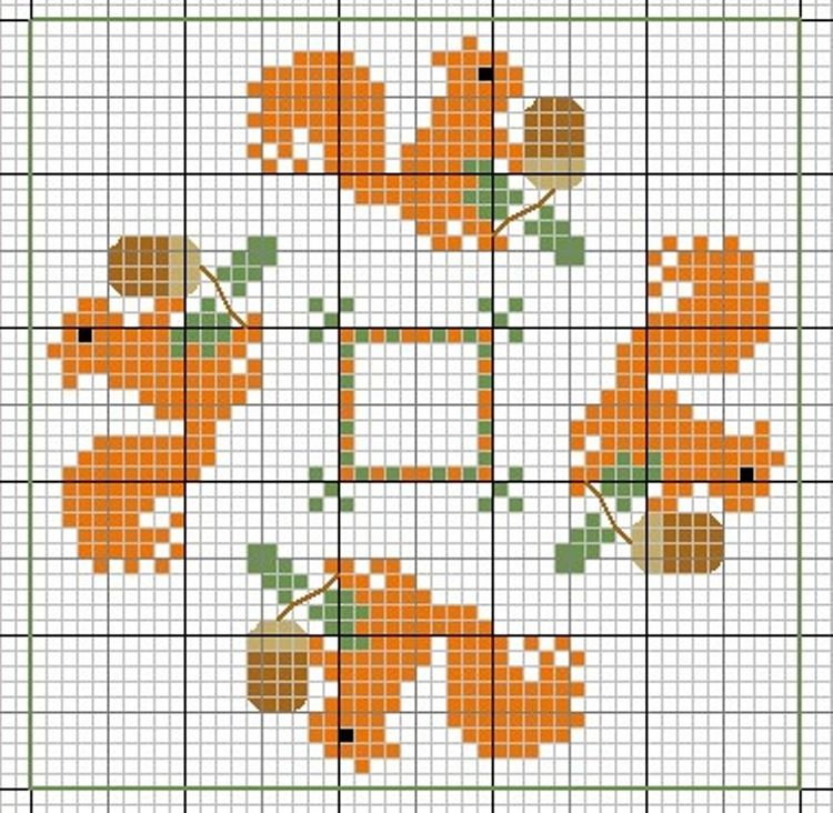 Acorns and Squirrels | fall cross stitch | Pinterest | Squirrel ...