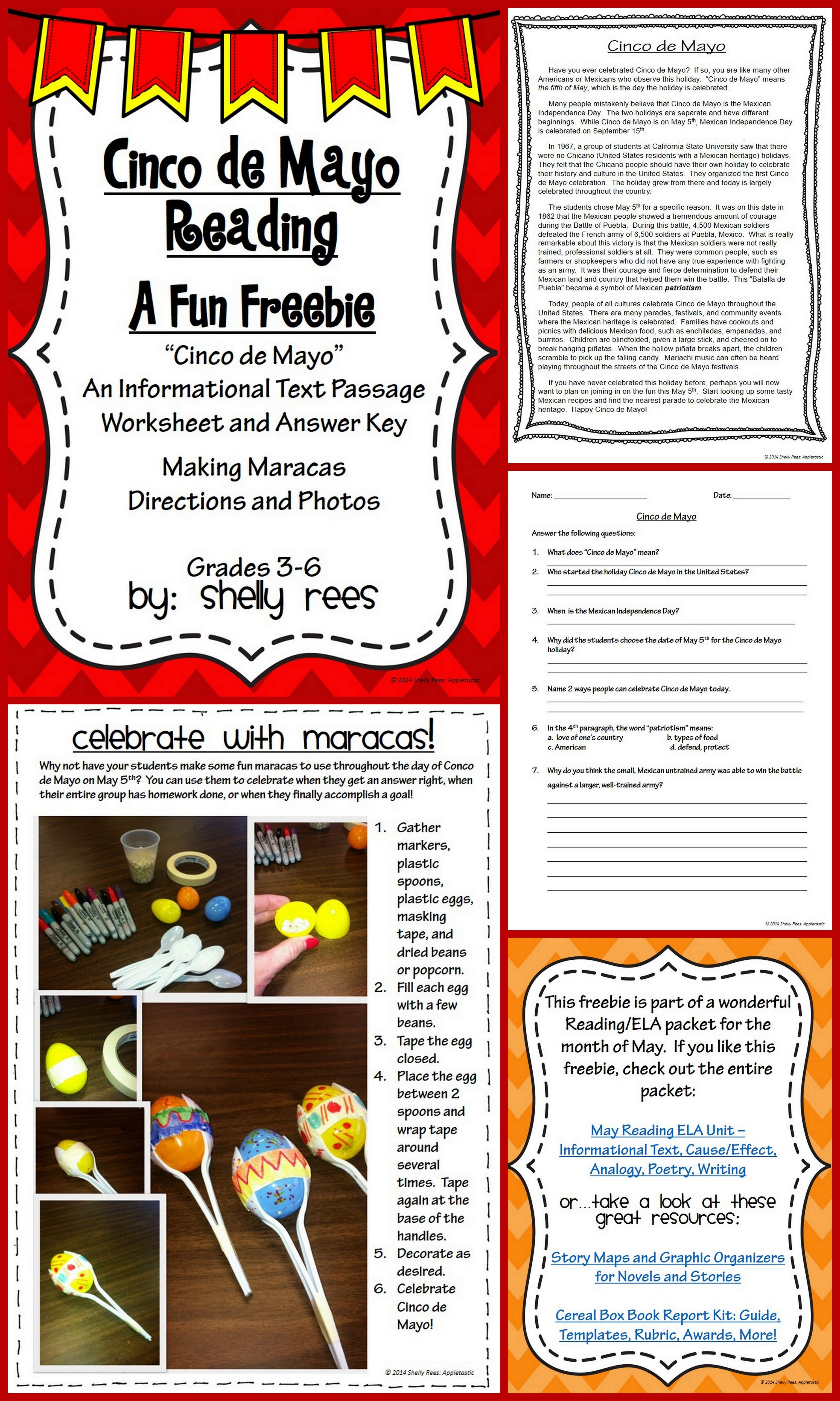 Cinco de Mayo Reading Passage FREE   Reading comprehension worksheets [ 5120 x 3072 Pixel ]