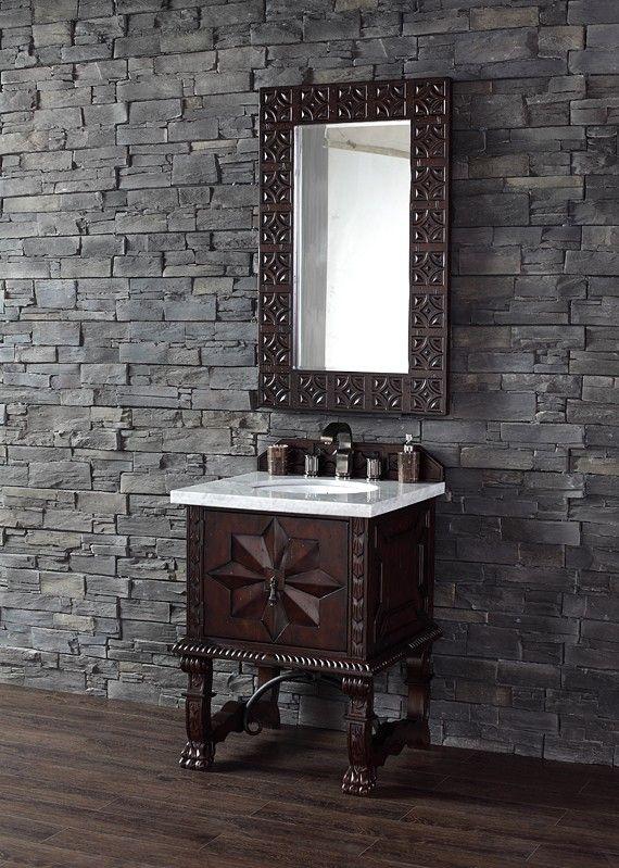 26 Inch Single Bath Vanity Cabinet Antique Walnut Finish Antique