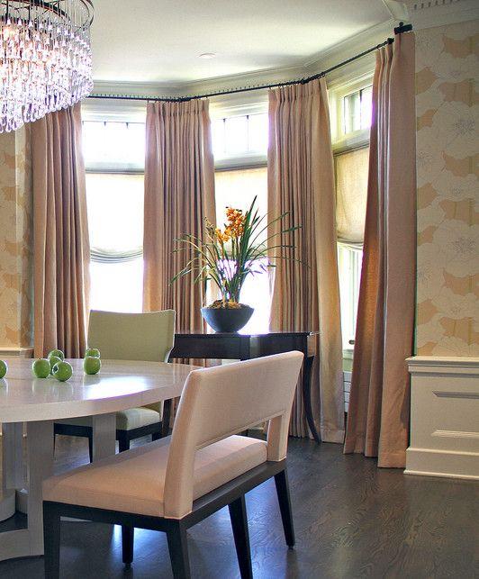 Bay Window Curtain Rod With Coco Brackets Bay Window Curtains Kitchen Window Curtains Cool Curtains