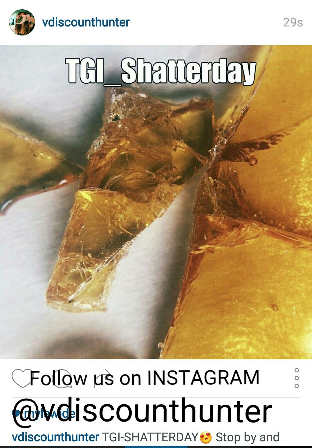 Happy Shatterday!!!!! 10% off all shatters! Follow us on Instagram! 10% off all wax, all day today! We are open til 1 am
