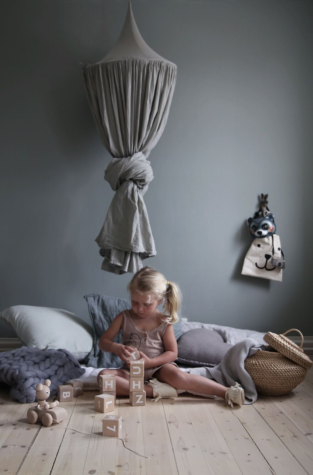 Having a play corner is something important for you kids. The more the child does, and plays and engages, the more his brain develops and the more potential he will have as he grows up. Numero74 featured products: Silver Grey Canopy and Heart Cushion.