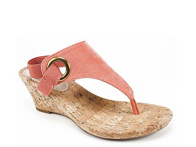 Women Aida Wedge Sandal Coral Metallic Shoes Wedge