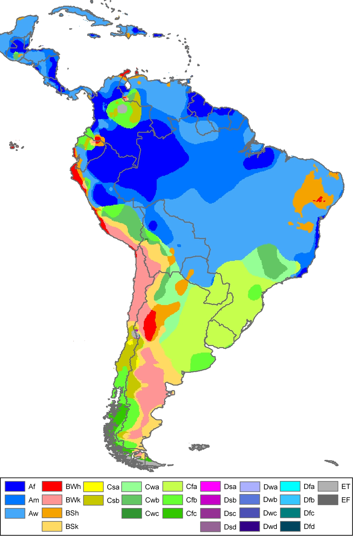 köppen climate classification for south america