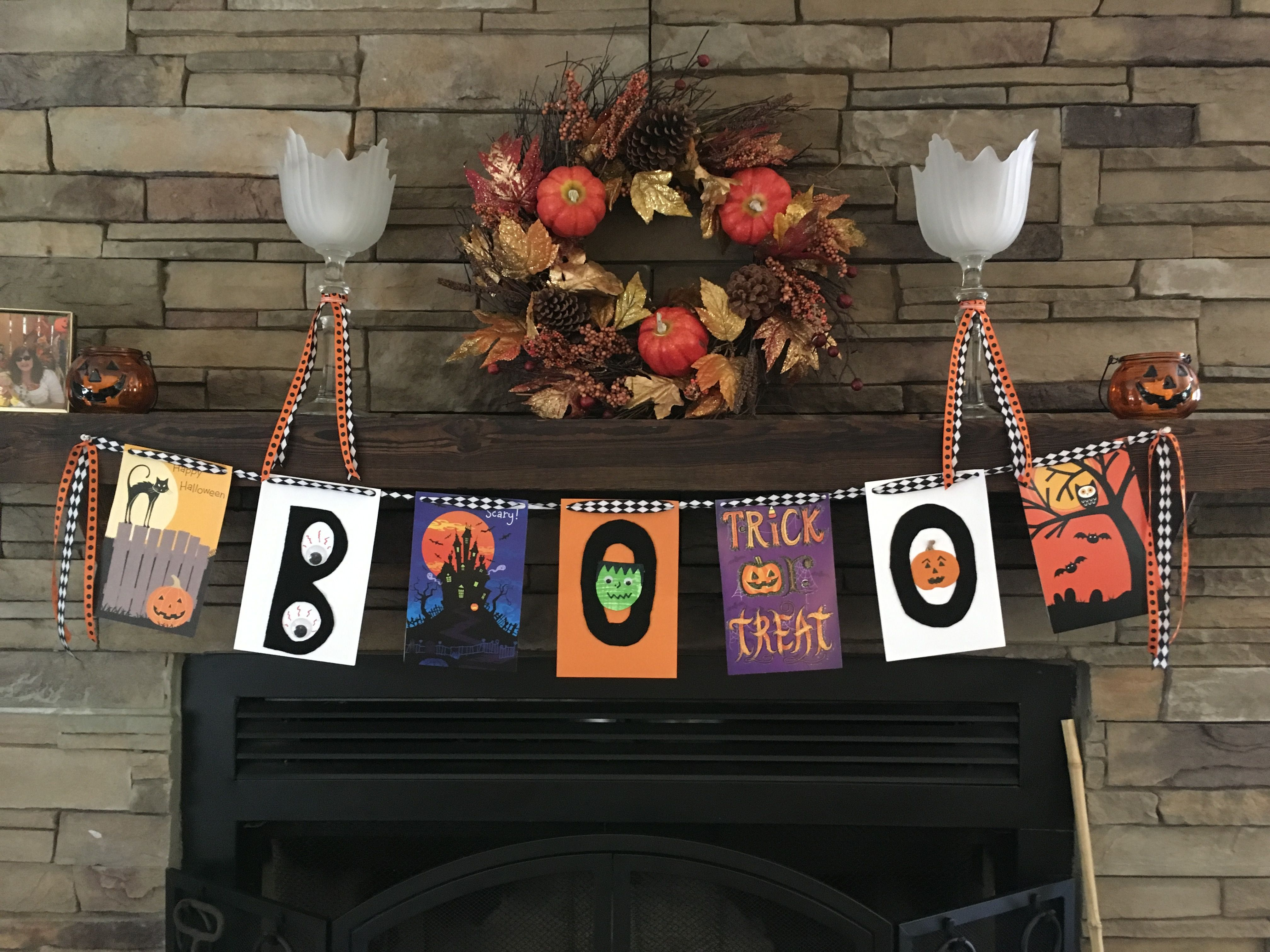Halloween banner! Made from greeting cards! Halloween