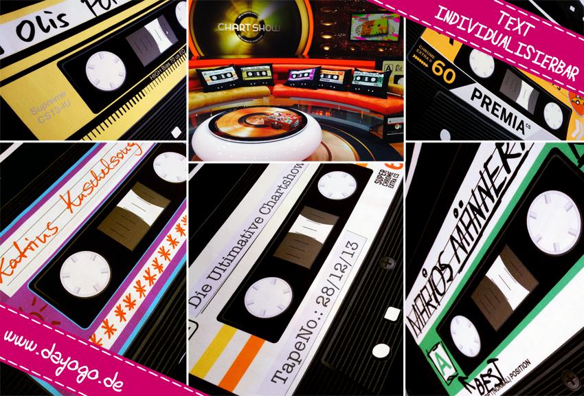"""Aus der RTL Chartshow. Gestalte Deine Lieblingskassette mit eigenem Text als Kissenstoffe und lasse Kuschelkissen in Deiner Werkstatt für Menschen mit Behinderung nähen. Vom eigenen Text bis zum fertigen Mixtape - alles """"Made in Germany"""" -> www.dayogo.de"""