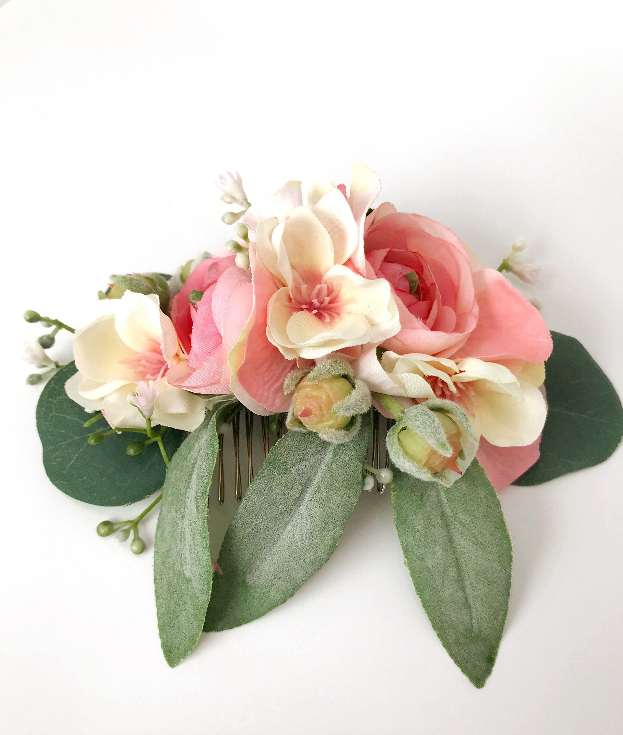Flower hair comb Pastel flower Bridal Spring bridal Flower comb Decorative hair comb Flower crown Silk flowers Floral hair comb Special day