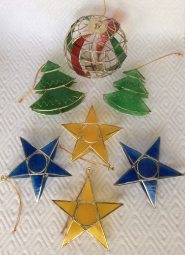 8-Vintage-CAPIZ-Ornaments-4-STARS-3-TREES-and-1-ORB
