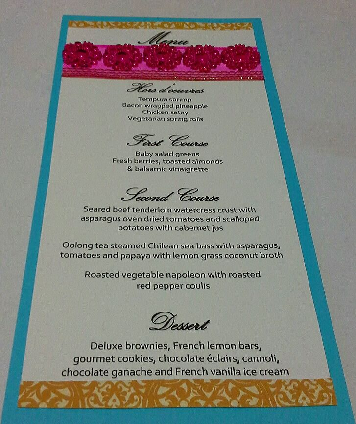 Sample Menu Card For A Fuschia, Gold And Teal Themed Moroccan
