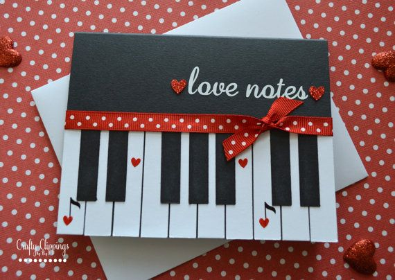Piano Card Loves Notes Card Valentines Day Card Music Greeting – Handmade Greeting Cards for Valentine Day