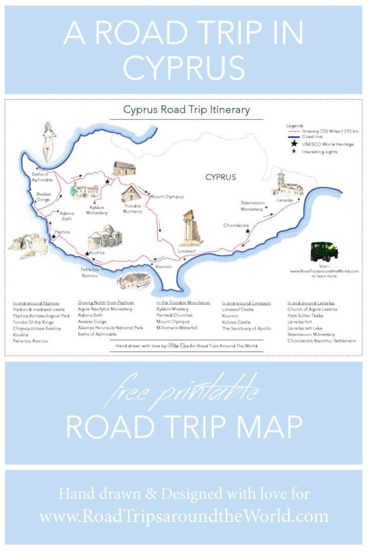 A Road Trip in Cyprus Free printable map Road Trips around the