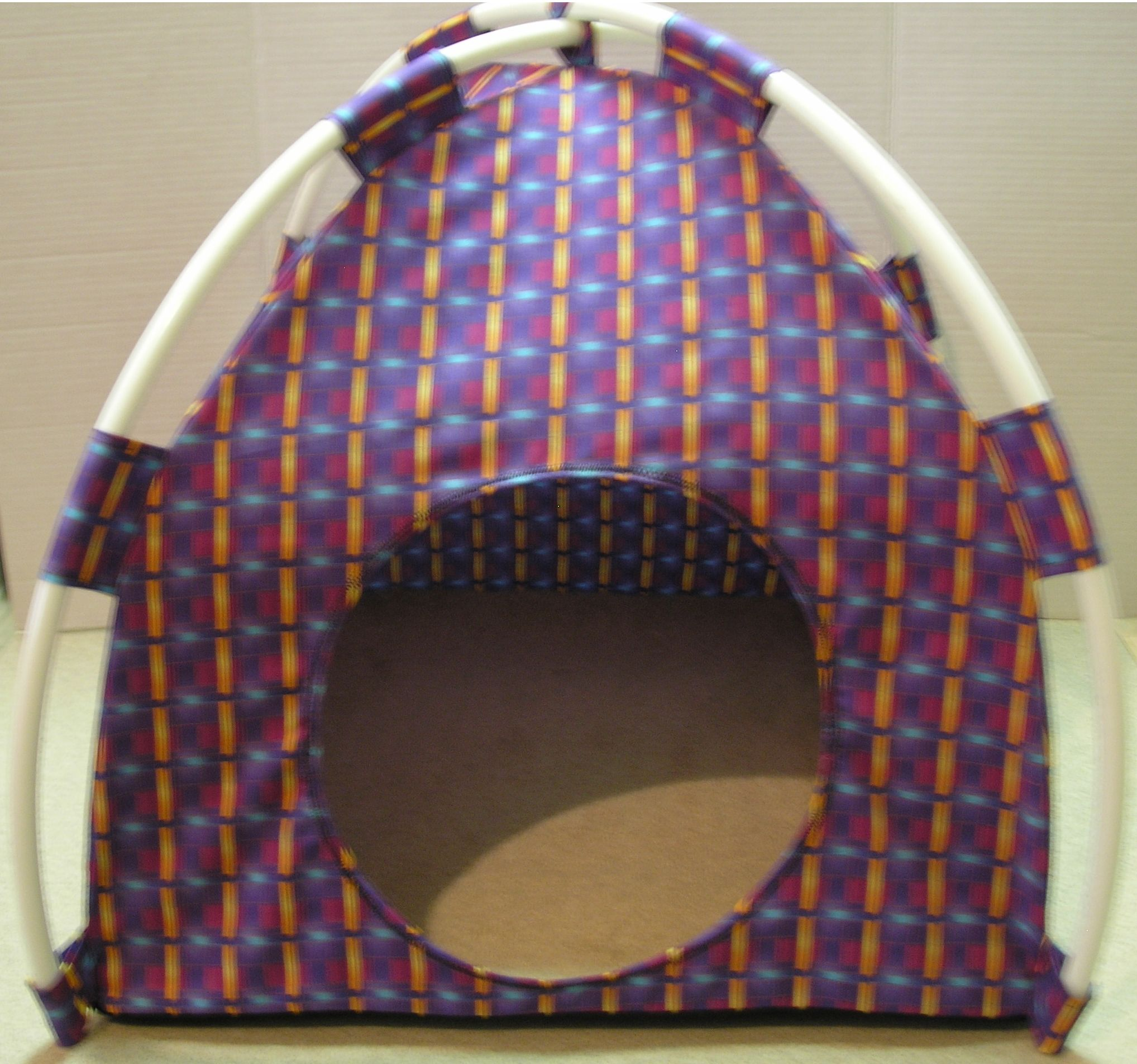 Purple Squares Print Fabric Pup Tent Pet Bed. Avail @ //stores & Purple Squares Print Fabric Pup Tent Pet Bed. Avail @ http ...
