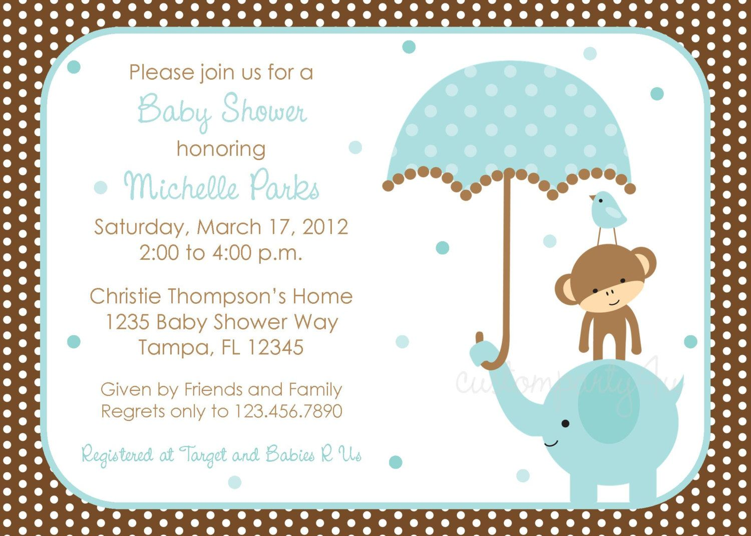 Polka dot Elephant Boys Baby Shower Invitations | Baby Shower ...