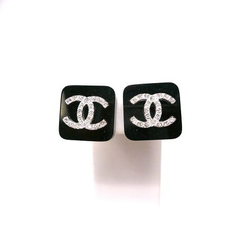 Image of FEATURED ITEM Chanel Authentic Black Square Earrings with Crystal Cc Rhinestones