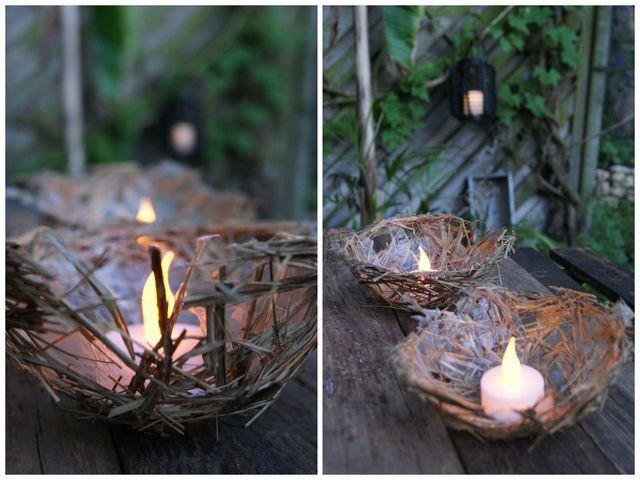 Filz und Garten Teelichtschale aus Heu
