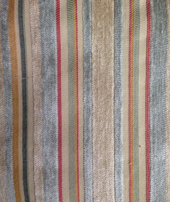 Multicolored Velvet Stripe Fabric Upholstery By Shopmyfabrics Upholstery Fabric Fabric Striped Fabrics