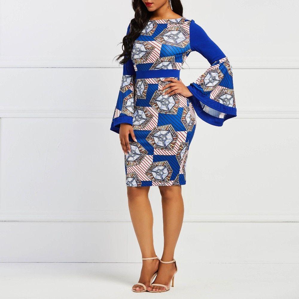 ff50f0bd96061 Clocolor Blue Print Tight Dress Women Bodycon Long Flare Sleeve High ...