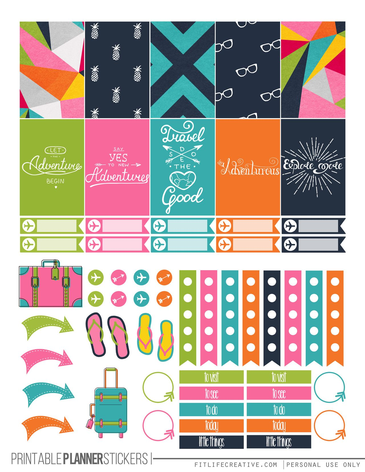 Travel Themed Printable Happy Planner Stickers Free