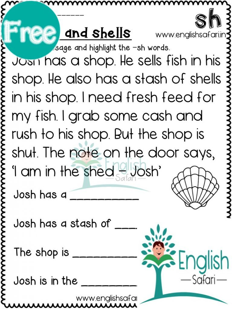 digraphs reading comprehension FREE www.worksheetsenglish.com   Reading  fluency passages [ 1024 x 768 Pixel ]