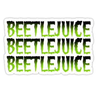 Beetlejuice Beetlejuice Beetlejuice Green Sticker By Whimsicalmuse In 2021 Beetlejuice Green Sticker Halloween Stickers