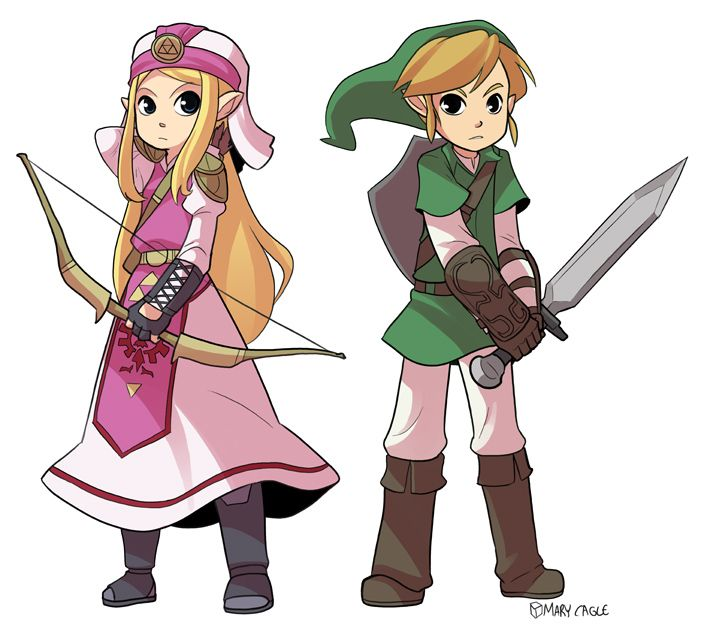 Character Design Challenge Zelda : Zelda and link by mary cagle ★ character design