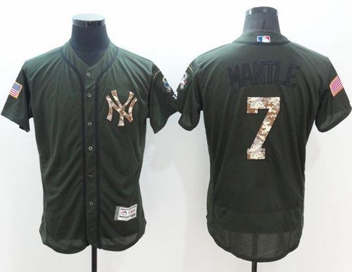 efe9c3fbfc7 Yankees  7 Mickey Mantle Green Flexbase Authentic Collection Salute to Service  Stitched MLB Jersey