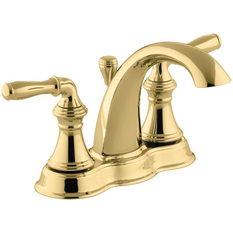 Kohler K 393 N4 Pb Vibrant Polished Brass Devonshire Centerset Bathroom Faucet Free Metal Pop Up Drain Assembly With Purchase In 2020 Kohler Devonshire Bathroom Faucets Bathroom Sink Faucets