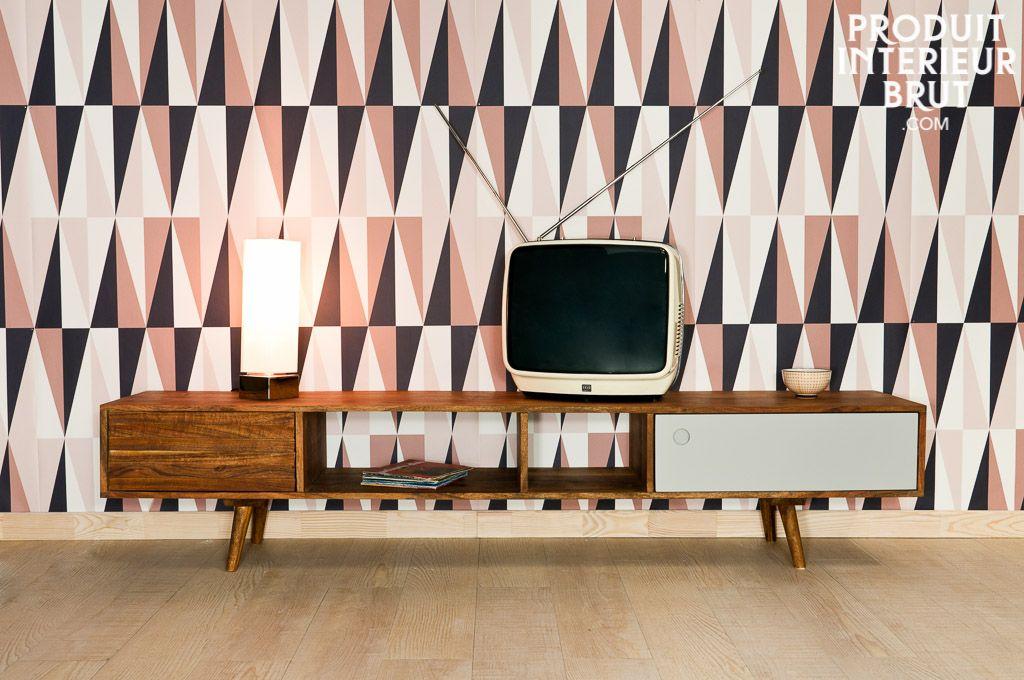 stockholm tv table vintage furniture design entirely of solid acacia wood - Meuble Tv Vintage Andersen