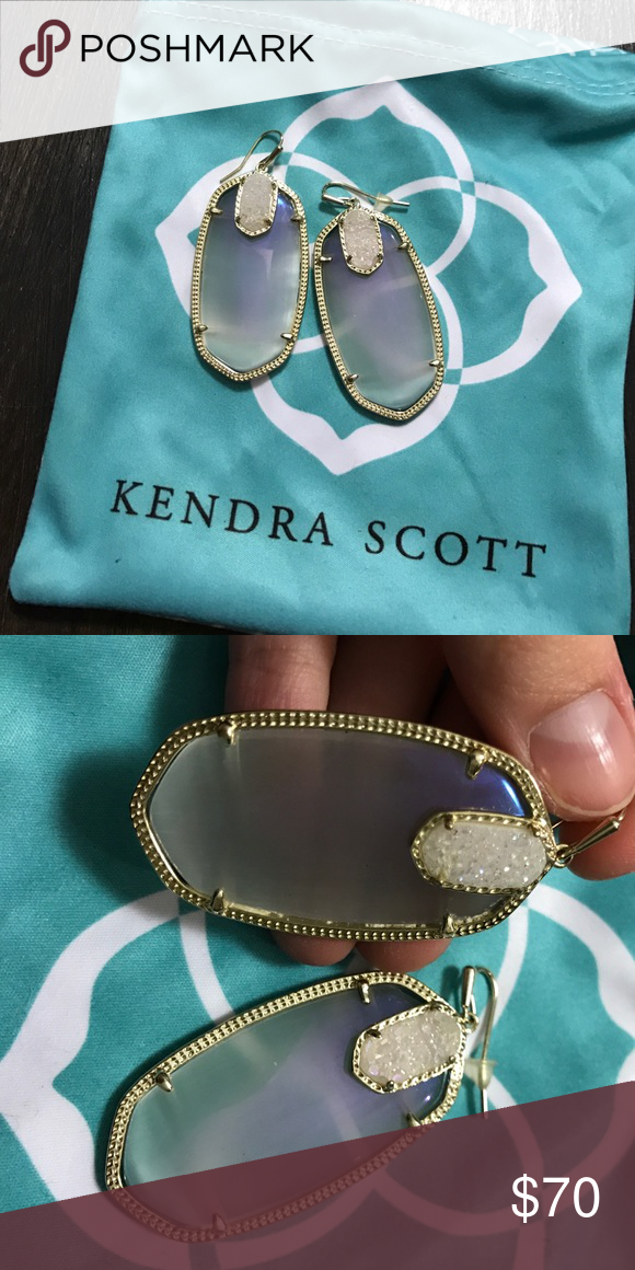 """Darcy""-Kendra Scott The color of these are ""Stellar Slate"" it is like the cats eye slate with an iridescent finish on them, with the iridescent drusy. The drusy stones are a little imperfect but otherwise the earrings are in great condition Kendra Scott Jewelry Earrings"