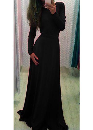 classy black long sleeve maxi dress   classy, sleeve and open backs