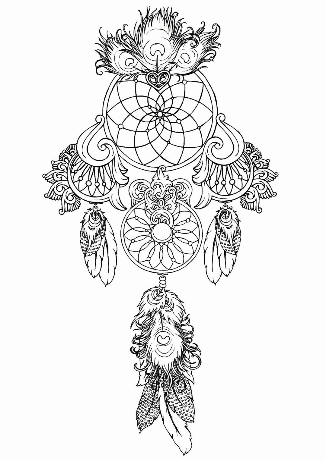 Coloring Pictures For Adults Beautiful Free Line Coloring Pages For Adults Creatively In 2020 Dream Catcher Coloring Pages Mandala Coloring Pages Dream Catcher Tattoo