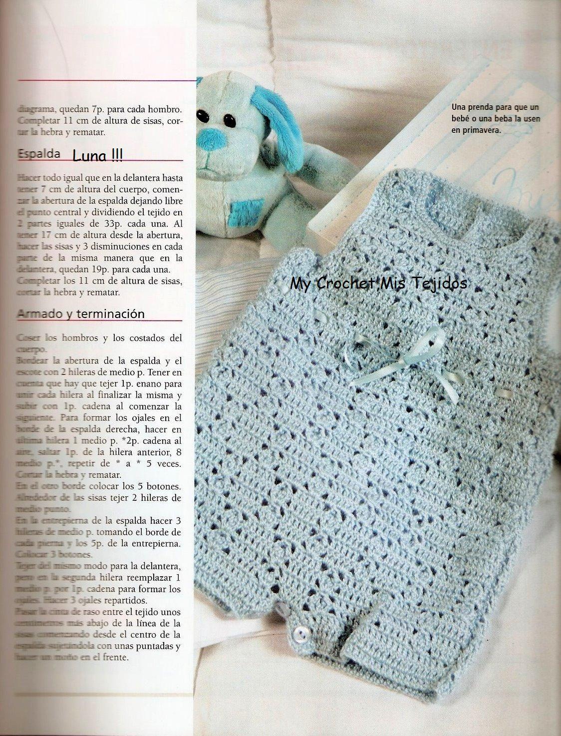 My Crochet , Mis Tejidos: Enterito para Bebe. | tejidos bebé ...