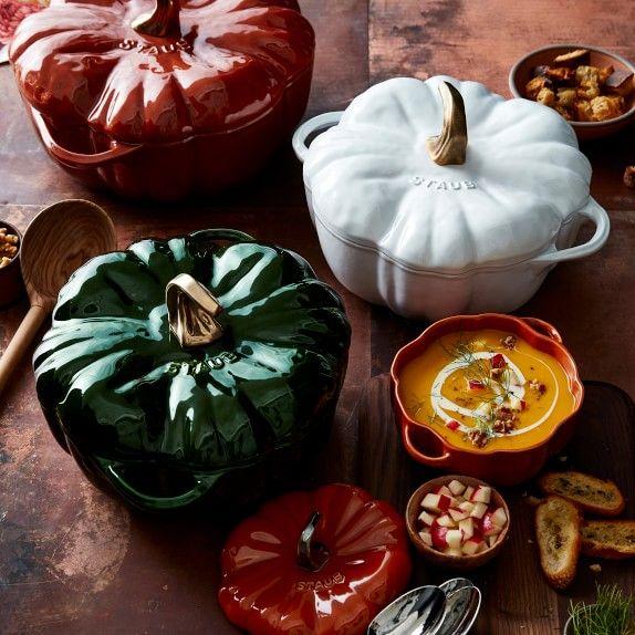Staub Ceramic Pumpkin Cocotte 3 4 Qt White Williams Sonoma Dutch Ovens Braisers Cookware Pots Fennel Soup Pumpkin Half Baked Harvest