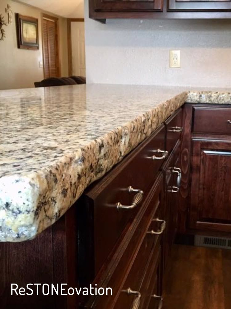 Beautiful Cream Colored Granite With A Natural Chiseled Edge Easy On The Budget Granite Countertops Countertops Granite