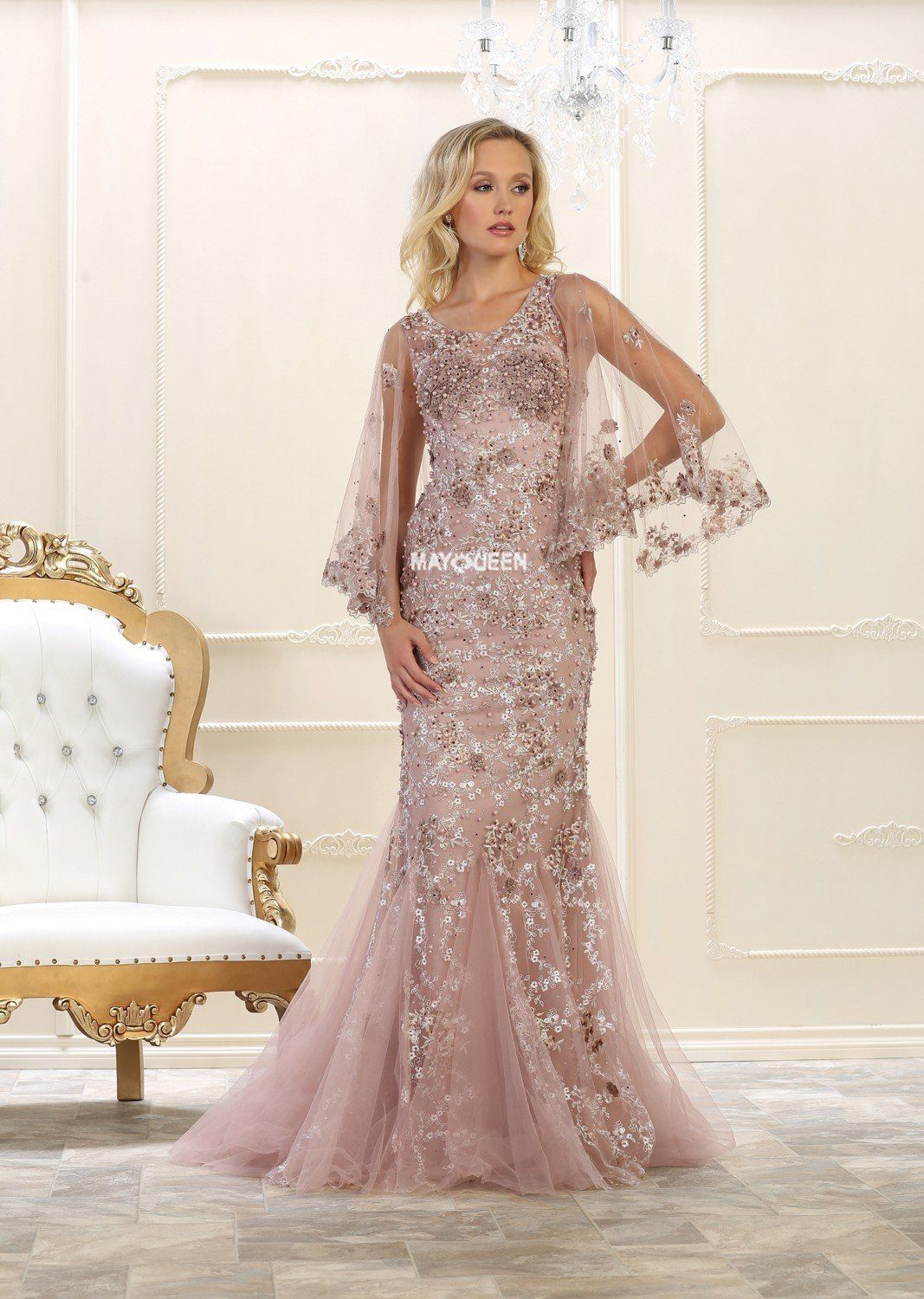 Extravagant lace prom dress rq closeout products