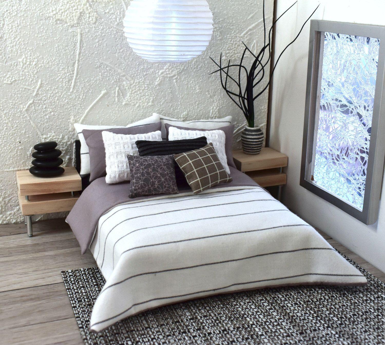 Modern Miniatures 1:12 Dollshouse Bed Linen Scandinavian 9 Piece ...