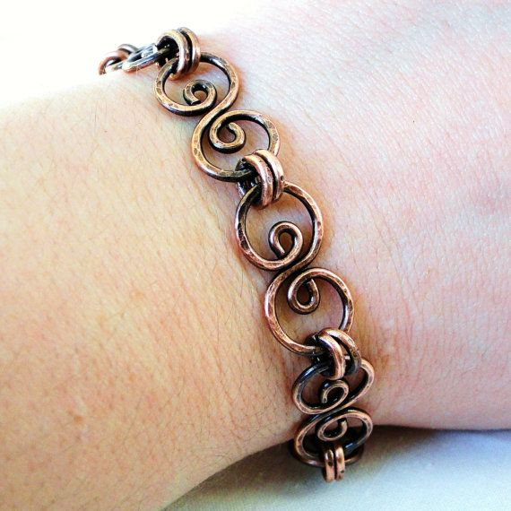 Handcrafted jewelry hammered copper bracelet antiqued for Hammered copper jewelry tutorial