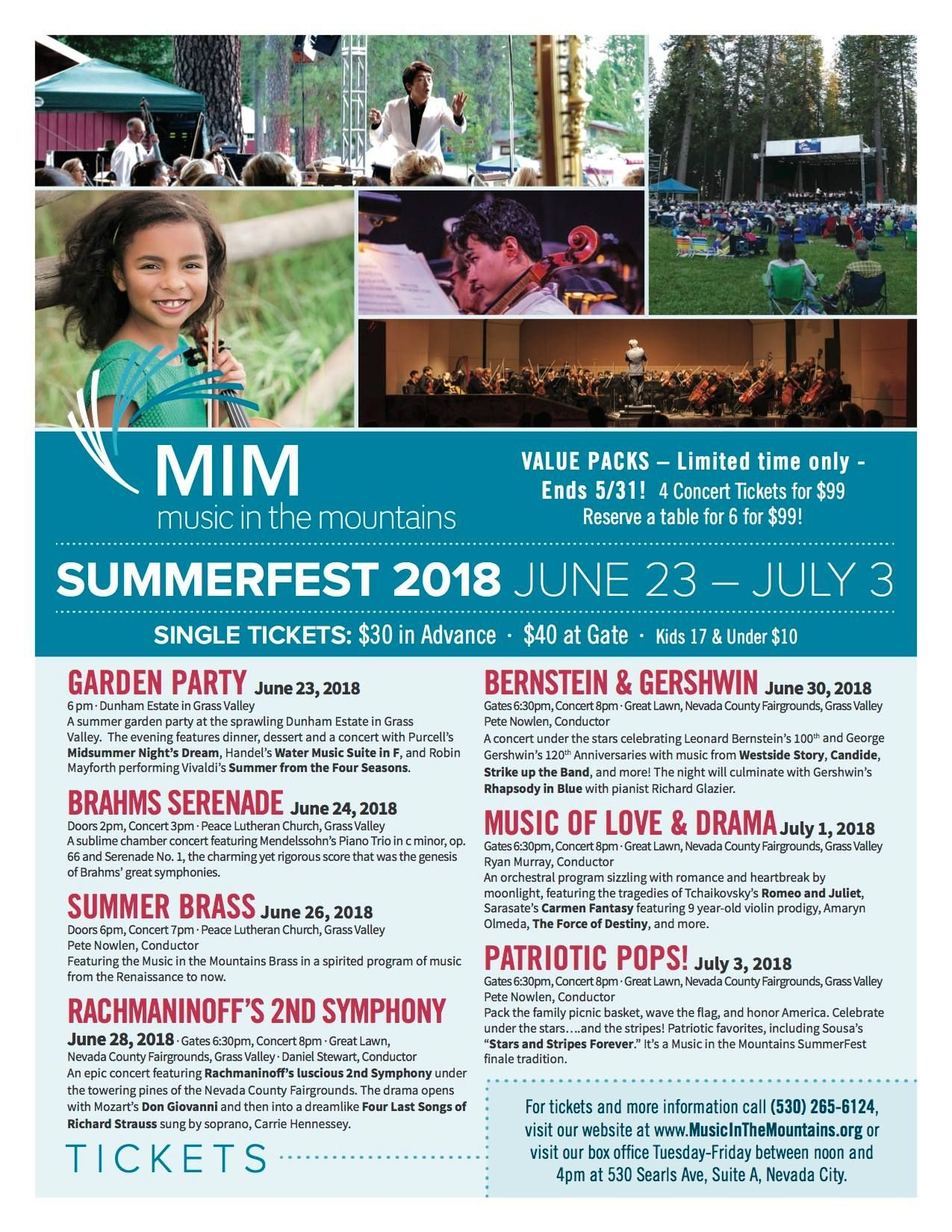 Music in the Mountains SummerFest, June 23-July 3rd, Grass Valley
