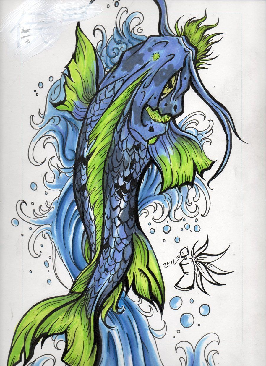 blue and black koi fish tattoo - Google Search | Art, Ink , and ...