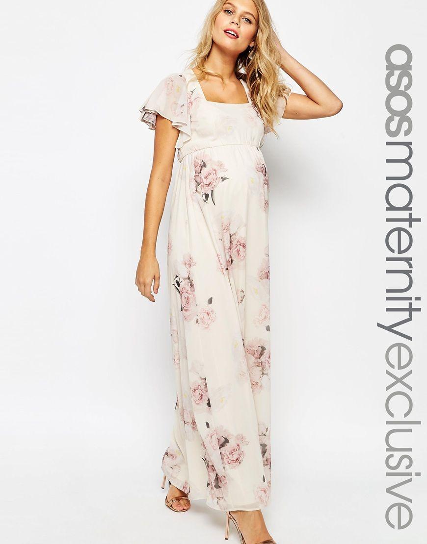 f1205f605029d ASOS Maternity SALON Maxi Dress With Flutter Sleeve | Maternity ...